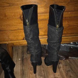 Shoe Dazzle Shoes - Suede/faux leather peep toe boots